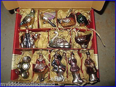 2012 NIB Williams Sonoma 12 Days of Christmas glass ornament set
