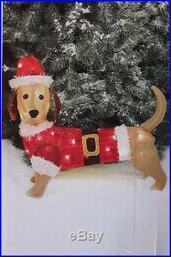 20 LIGHT UP LIT DACHSHUND WEINER DOG BURLAP CHRISTMAS YARD DECOR DECORATION