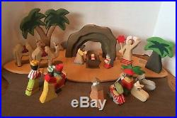 20 Piece WOODLAND FANTASIES WOOD CRECHE NATIVITY Christmas ORIGINAL BOX Set