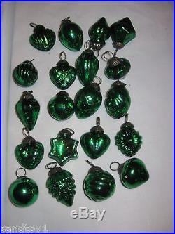 20 Vtg Kugel Style Mercury Glass Ornaments All Diff Shapes Vibrant Emerald Green