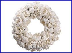 22 Diamond Peony Artificial Floral Christmas Wreath Unlit
