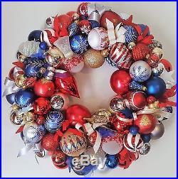 22 Patriotic Americana Glass Ornament Wreath USA Vintage Modern Bells Eagle
