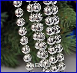 24FT SILVER HANGING BEAD GARLAND CHRISTMAS TREE XMAS TINSEL STRING DECORATION