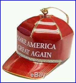 24K Gold Donald Trump Make America Great Again Red Hat Christmas Ornament 2016