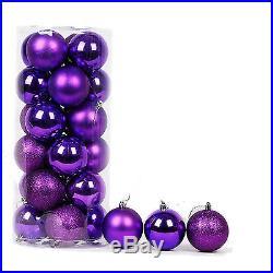 24 Pcs Christmas Balls Ornaments for Christmas Tree Decor Shatterproof Purple