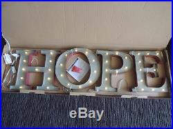 $259 RH Restoration Hardware Vintage Illuminated Marquee Words HOPE Iron Red NWT