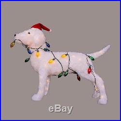 28.5 3D Standing Decorative Dog Lighted Christmas Yard Art Decoration