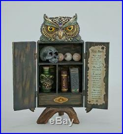 28-728673 Katherine's Collection Owl Witches Potion Cabinet Halloween Decoration