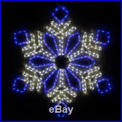28 LED Blue and White Diamond Flower Snowflake Christmas Holiday Hanging Decor