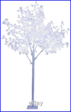 2.5m 320 LED ENCHANTING WHITE LEAFED WINTER CHRISTMAS TREE INDOOR OR OUTDOOR