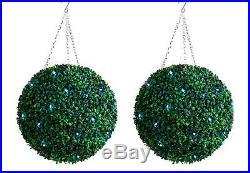 2 Best Artificial Pre Lit 35cm Green Boxwood Topiary Balls Hanging Grass Garden