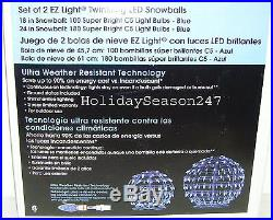 2 Giant EZ Light Twinkling LED Blue SnowBall 18in 24in Holiday Christmas Display