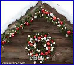 2 NEW Pottery Barn ORNAMENT PINE GARLAND Red & Silver in boxes SET/ 2 Christmas
