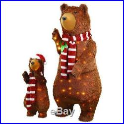 2 Pc Set Lighted Tinsel Brown Bear Family Sculpture Outdoor Christmas Decor