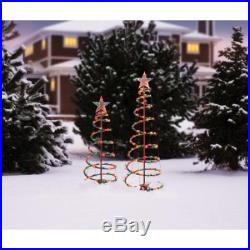 2 Piece Spiral Christmas Tree Set Clear Lights Holiday Festive Decoration