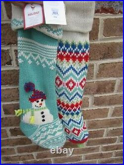 2 Pottery Barn Kids Merry & Bright Christmas Knitted Stocking, Snowman & ZigZag