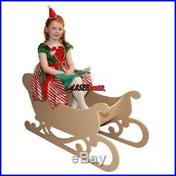 2 Sizes of Santa's Sleigh MDF Large Wooden Freestanding & to sit in Christmas