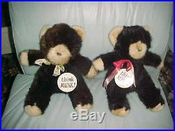 2 TEADY BEARS REAL MINK BLACK & BEIGE