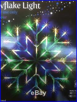 2 X Christmas Window Snow Flake Multi Coloured 35cm X 35cm Indoor 2 Functions