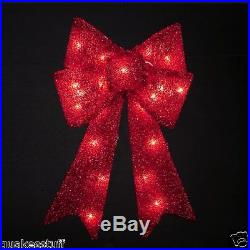 2 feet Lighted 3D tinsel Bow Christmas Holiday Indoor Outdoor Decoration