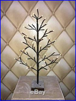 2ft Snowy Effect Warm White Twig Tree 51 LED Christmas XMAS Decoration 60cm