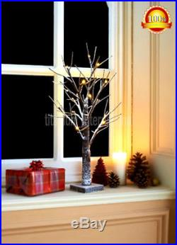 2ft Snowy Effect Warm White Twig Tree Pre-lit 24 LED Indoor / Outdoor