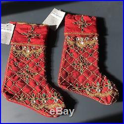 2pc Kim Seybert RED Christmas 2 Stocking Set Bead Jewel Gold Green Santa Sock