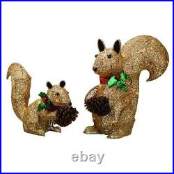 2pc Lighted Woodland Squirrel Set Sculpture Outdoor Christmas Yard Decoration
