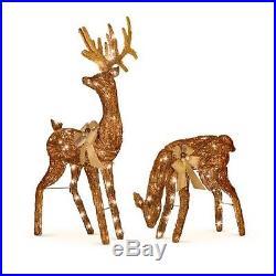 2pc Set Lighted Glitter Bronze Grapevine Deer Sculptures Outdoor Christmas Decor