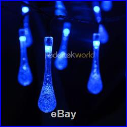 30 LED New Waterdrop Blue 6M Solar String Lights Party Wedding Christmas Lawn