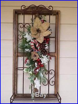 31 Iced BURLAP POINSETTIA Candy Cane SNOWFLAKES Red Berry Christmas Swag Wreath