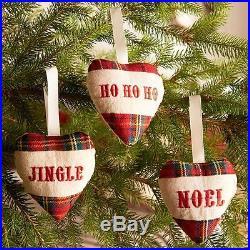 32 x Sets Of 3 Tartan Christmas Tree Decorations 12cm 96 Units Fabric Hearts