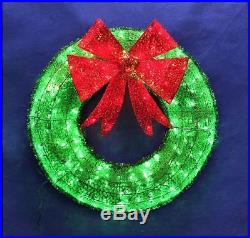36 Green Tinsel Wreath Red Bow LED Mini Lights Outdoor Christmas Decoration New