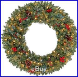 36 In. Winslow Artificial Indoor/Outdoor Christmas Wreath With 150 Clear Lights