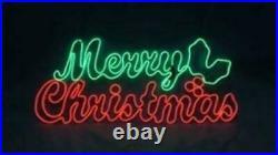 36 LED NEON Prelit MERRY CHRISTMAS Sign CURSIVE Holly Outdoor Yard Lighted NIB