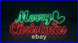 36 LED NEON Prelit MERRY CHRISTMAS Sign Holly Outdoor Yard Lighted Window Decor