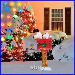 36 Lighted & Animated Soft Tinsel Snoopy on Mailbox Sculpture Christmas Decor