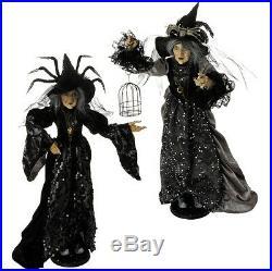 3712520 RAZ Set/2 24 Halloween Witch Doll Black Spider Feather Hat on Stand