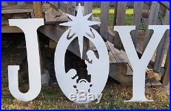 39 TALLMetal CHRISTMAS JOY Sign Display Nativity Yard Art Outdoor Holiday Decor