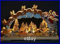 3D LED Holz Schwibbogen 43cm handbemalt Santa Claus Weihnachtsmann Erzgebirge