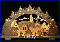3D-LED Schwibbogen 52x32cm Erzgebirge Advent Winterkinder Neu Lichterbogen