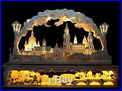3D LED Schwibbogen Frauenkirche Dresden + Sockel 80cm Elbwiesen Erzgebirge