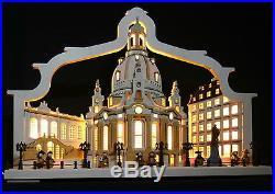 3D LED Schwibbogen Frauenkirche Dresden mit Bogen Stadtansicht Lichterbogen