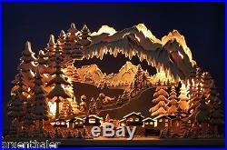 3D LED Schwibbogen / Lichterbogen 73×44 Winterkinder Wintersport Ski Erzgebirge