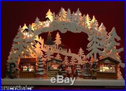 3D-LED Schwibbogen Seiffener Weihnachtsmarkt Pyramide 43x30cm Erzgebirge