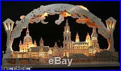3D LED Schwibbogen Stadtansicht Dresden 70x40cm Frauenkirche Erzgebirge Bogen