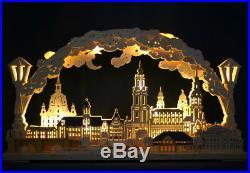 3D LED Schwibbogen Stadtansicht Dresden farbig 70x40cm Frauenkirche Erzgebirge