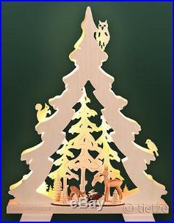 3D-LED-Schwibbogen Tanne klein geschnitzte Rehe im Wald Erzgebirge Tannenbaum