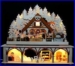 3D LED Schwibbogen Weihnachtsbäckerei mit Sockel 50cm Mehlkammer Erzgebirge