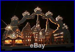 3D-Schwibbogen 68x39cm Weihnachtsmarkt Zwickau mit kleiner Pyramide Erzgebirge